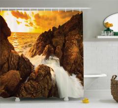 Dalga ve Kayalık Sahil Temalı Duş Perdesi Sarı
