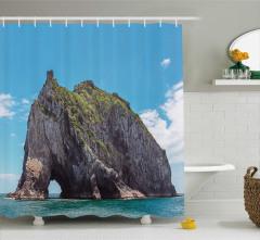 Kayalık Ada ve Deniz Temalı Duş Perdesi Mavi