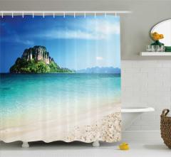 Deniz ve Kayalık Ada Temalı Duş Perdesi Şık