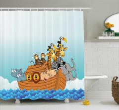 Nuhun Gemisi Desenli Duş Perdesi Çocuklar İçin