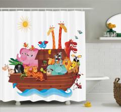 Hayvan ve Gemi Desenli Duş Perdesi Çocuk İçin