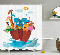 Rengarenk Desenli Duş Perdesi Nuhun Gemisi