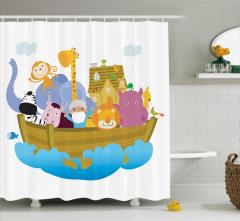 Tekne ve Hayvan Desenli Duş Perdesi Çocuk İçin