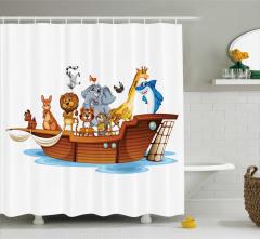 Rengarenk Dini Temalı Duş Perdesi Nuhun Gemisi