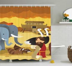 Nuh ve Hayvan Desenli Duş Perdesi Dini Temalı