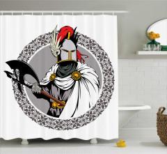 Şövalye ve Balta Desenli Duş Perdesi Nostaljik