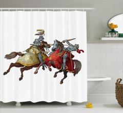 Atlı Şövalye Desenli Duş Perdesi Nostaljik