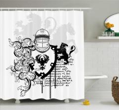 Antik Şövalye Desenli Duş Perdesi Siyah Beyaz