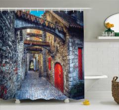 Kemer ve Taş Binalar Temalı Duş Perdesi Antik