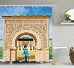 Kemerli Kapı Desenli Duş Perdesi Antik Dekor