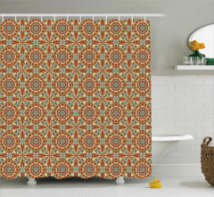 Geometrik Şal Desenli Duş Perdesi Rengarenk