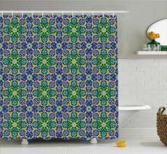 Geometrik Şal Desenli Duş Perdesi Yeşil Mavi
