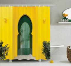 Sarı Kemerli Kapı Temalı Duş Perdesi Antik
