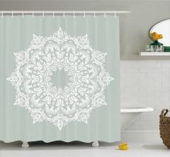 Beyaz Şal Desenli Duş Perdesi Şık Tasarım