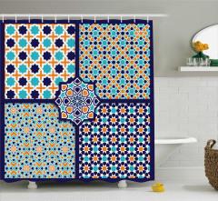 Geometrik Yıldız Desenli Duş Perdesi Sarı Mavi