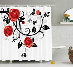 Kırmızı Siyah Duş Perdesi Gotik Tarz Gül Deseni