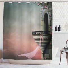 Gotik Tarz Duş Perdesi Orta Çağ Saray Balkonu