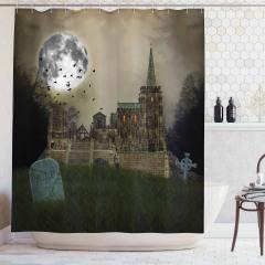 Gotik Tarz Duş Perdesi Perili Köşk Temalı Ay Işığı