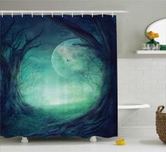 Gotik Tarz Duş Perdesi Orman Manzaralı Ay Işığı