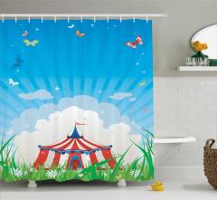 Sirk ve Kelebek Desenli Duş Perdesi Çocuklara