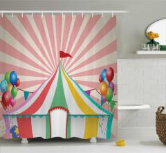 Sirk ve Balon Desenli Duş Perdesi Rengarenk