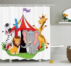 Sirk Hayvanları Desenli Duş Perdesi Çocuklara
