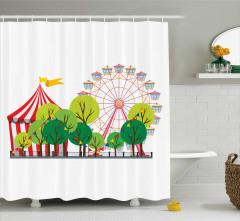 Sirk ve Ağaç Desenli Duş Perdesi Çocuklara