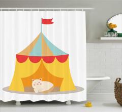 Sirk ve Sevimli Kedi Desenli Duş Perdesi Çocuk
