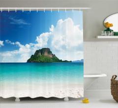 Issız Ada Manzaralı Duş Perdesi Okyanus Mavi Yeşil