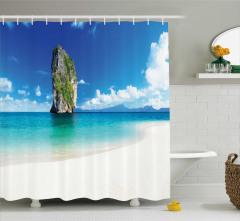 Doğa Manzaralı Duş Perdesi Okyanus Sahil Kumsal Mavi