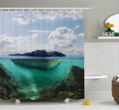 Ada Manzaralı Duş Perdesi Deniz Mavi Yeşil Doğa