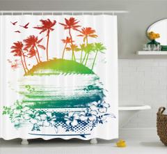 Tropikal Ada Manzaralı Duş Perdesi Rengarenk Egzotik