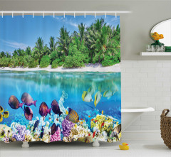 Tropik Rengarenk Balıklar Temalı Duş Perdesi Mavi