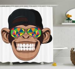 Çocuklar için Duş Perdesi Hippi Maymun Desenli Beyaz