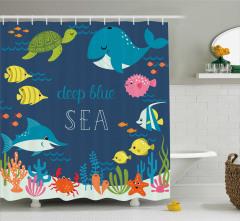 Çocuklar için Duş Perdesi Balıklar Kaplumbağa Deniz