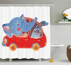 Çocuklar için Duş Perdesi Fil ve Tavşan Yolculukta
