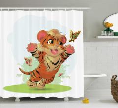 Çocuklar için Duş Perdesi Bebek Kaplan ve Kelebekler