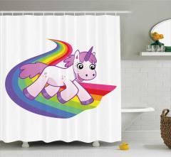 Çocuklar için Duş Perdesi Gökkuşağı Tek Boynuzlu At