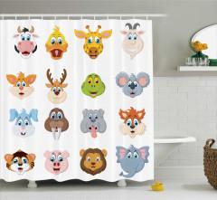 Çocuklar için Duş Perdesi Rengarenk Hayvan Desenleri