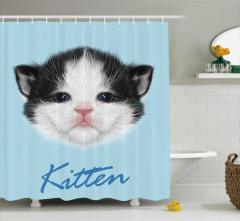Çocuklar için Duş Perdesi Yavru Kedicik Desenli Mavi