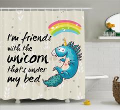 Çocuklar için Duş Perdesi Gökkuşağı Mavi Unicorn