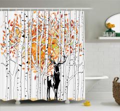 Ormandaki Geyik Temalı Duş Perdesi Turuncu Beyaz