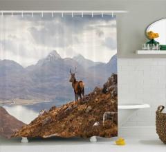 Yaban Hayatı Temalı Duş Perdesi Dağ Geyik Kahverengi