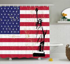 Özgürlük Heykeli Desenli Duş Perdesi Bayrak