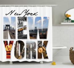 New York Manzaralı Duş Perdesi Şık Tasarım
