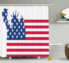 ABD Bayrağı Desenli Duş Perdesi Özgürlük Anıtı