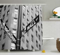 Wall Street ve Broadway Temalı Duş Perdesi ABD