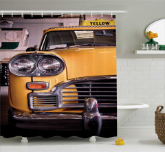 Nostaljik Sarı Taksi Temalı Duş Perdesi Klasik