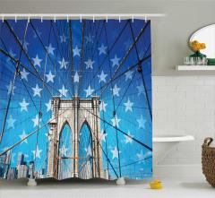 Köprü ve ABD Temalı Duş Perdesi Nostaljik