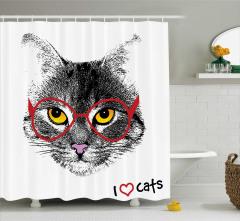 Karakalem Etkili Duş Perdesi Gözlüklü Kedi Siyah